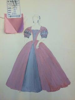 Ballroom costume - Original pencil and watercolor drawing