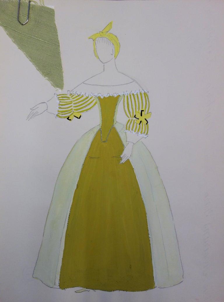 Suzanne Lalique Figurative Art - Cinderella Costume - Original signed drawing and watercolor