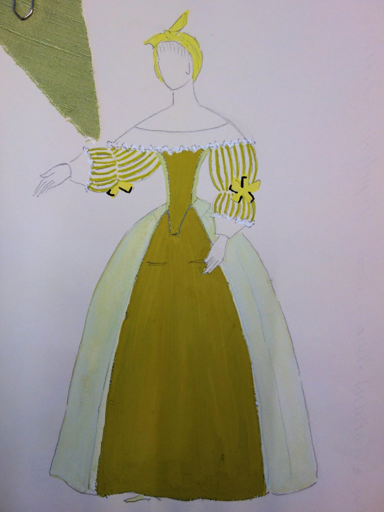 Cinderella Costume - Original signed drawing and watercolor - Art by Suzanne Lalique