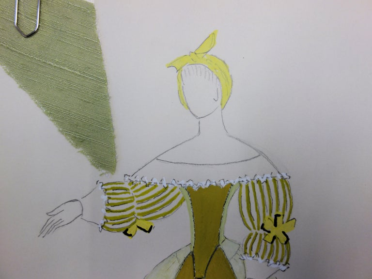 Cinderella Costume - Original signed drawing and watercolor - Modern Art by Suzanne Lalique
