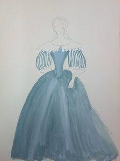 Baroque Blue Dress - Original signed watercolor