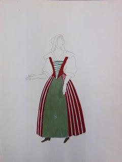 Suzanne LALIQUE (1892 -1989) - Traditional Costume - Original signed watercolor