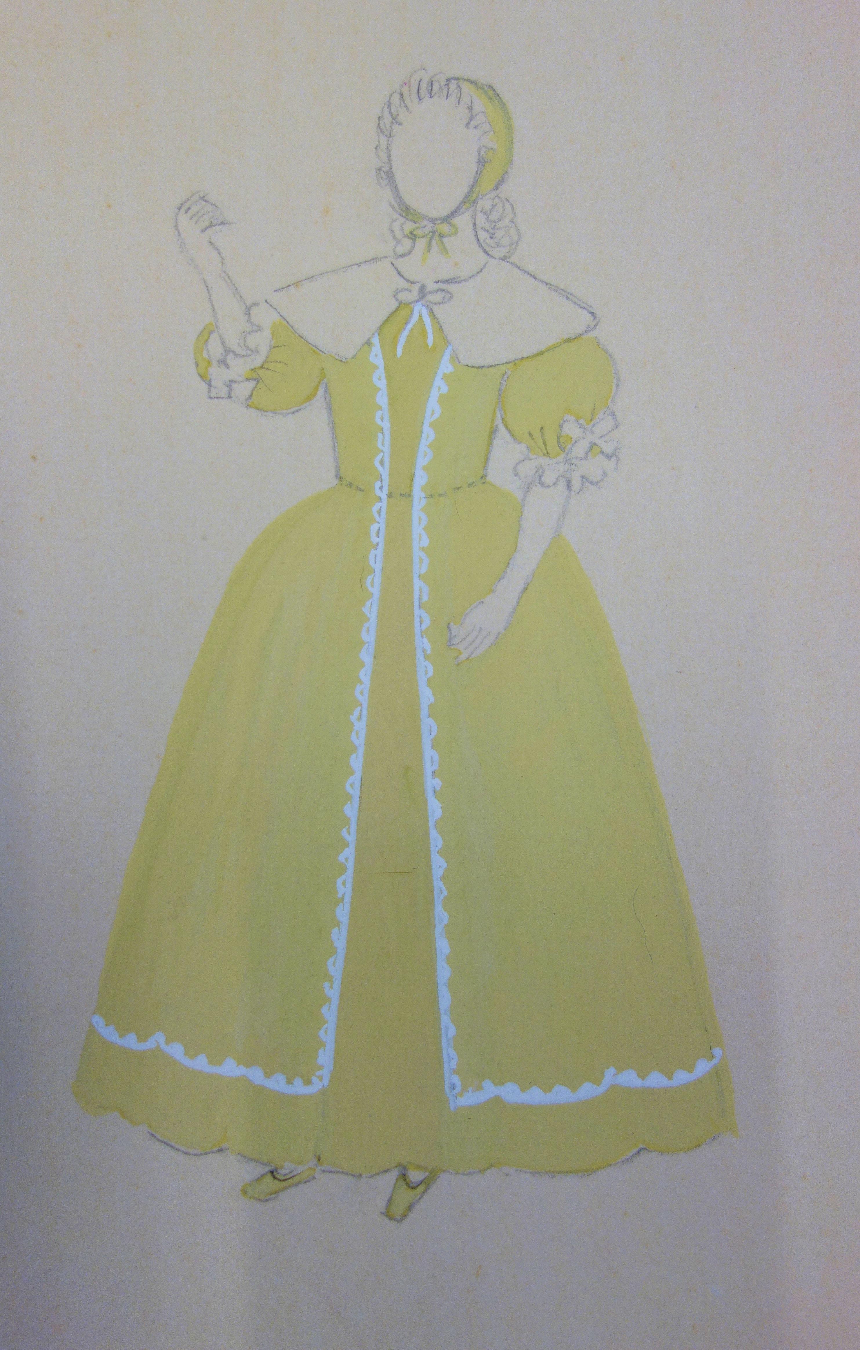 Traditional Yellow Dress - Original watercolor