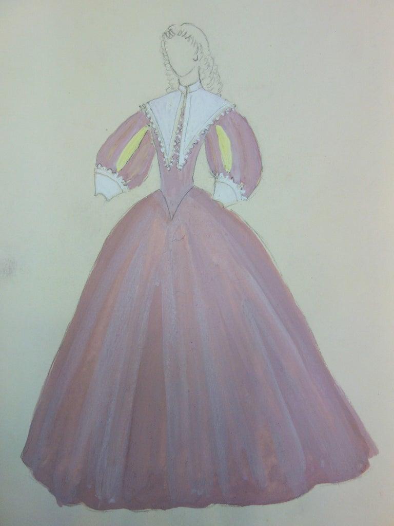 Baroque Pink Dress - Original watercolor - Art by Suzanne Lalique