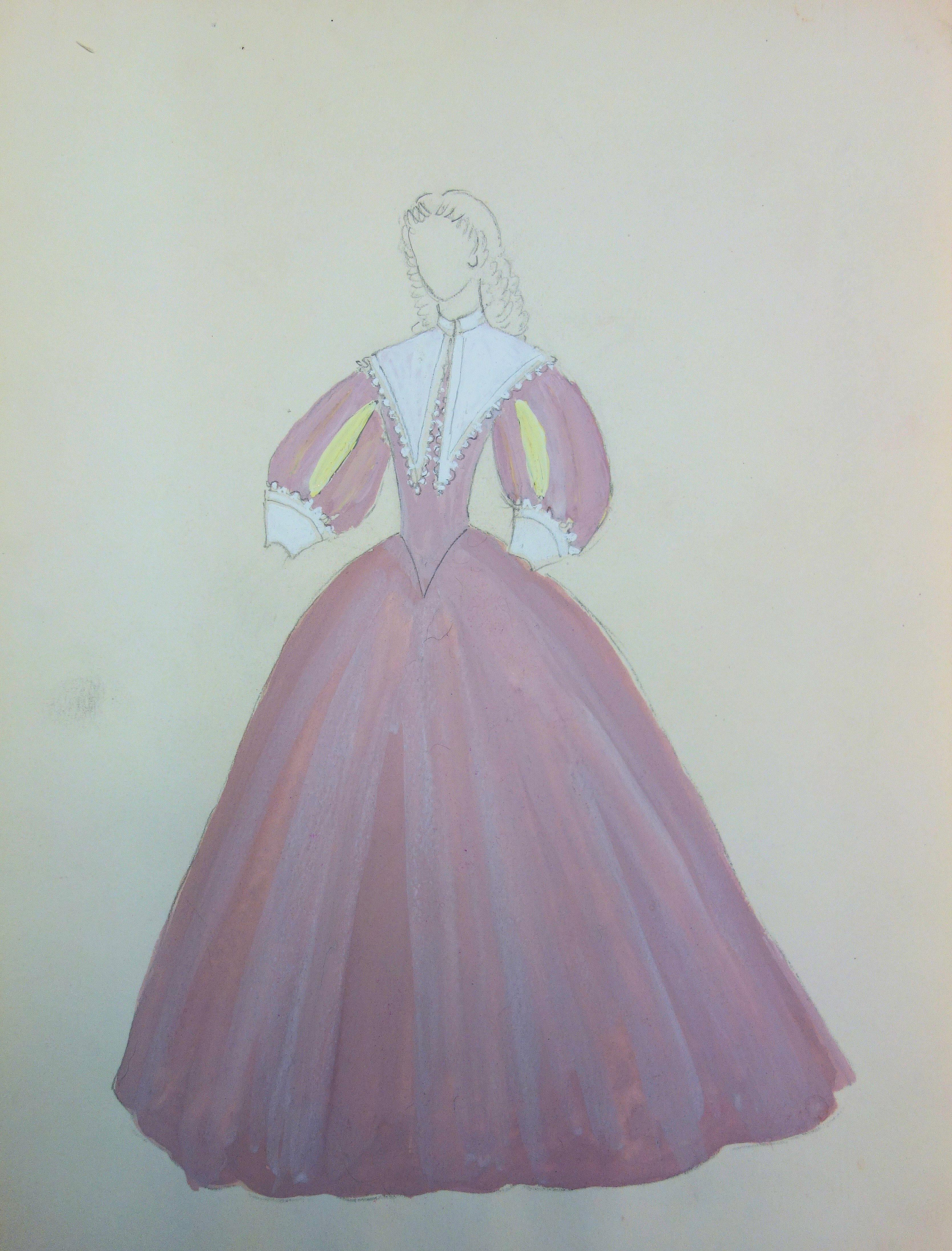 Baroque Pink Dress - Original watercolor