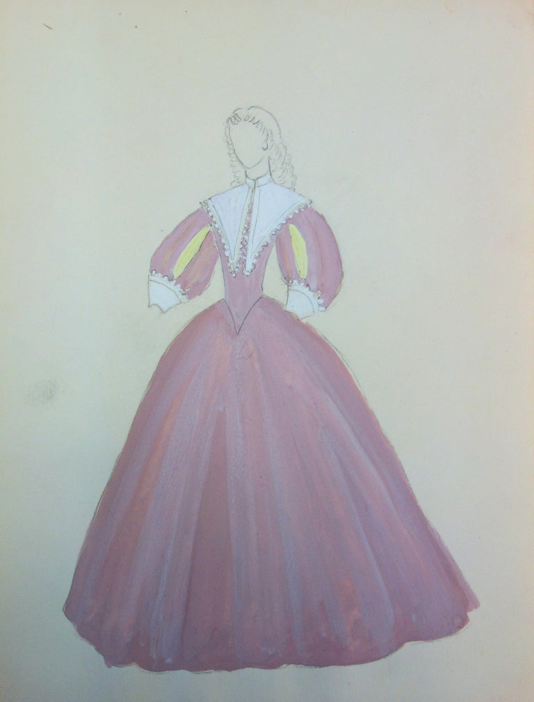 Suzanne Lalique Figurative Art - Baroque Pink Dress - Original watercolor