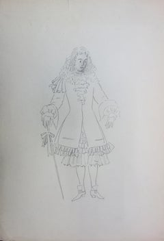 King's Courtier Costume, Original Pencil Drawing