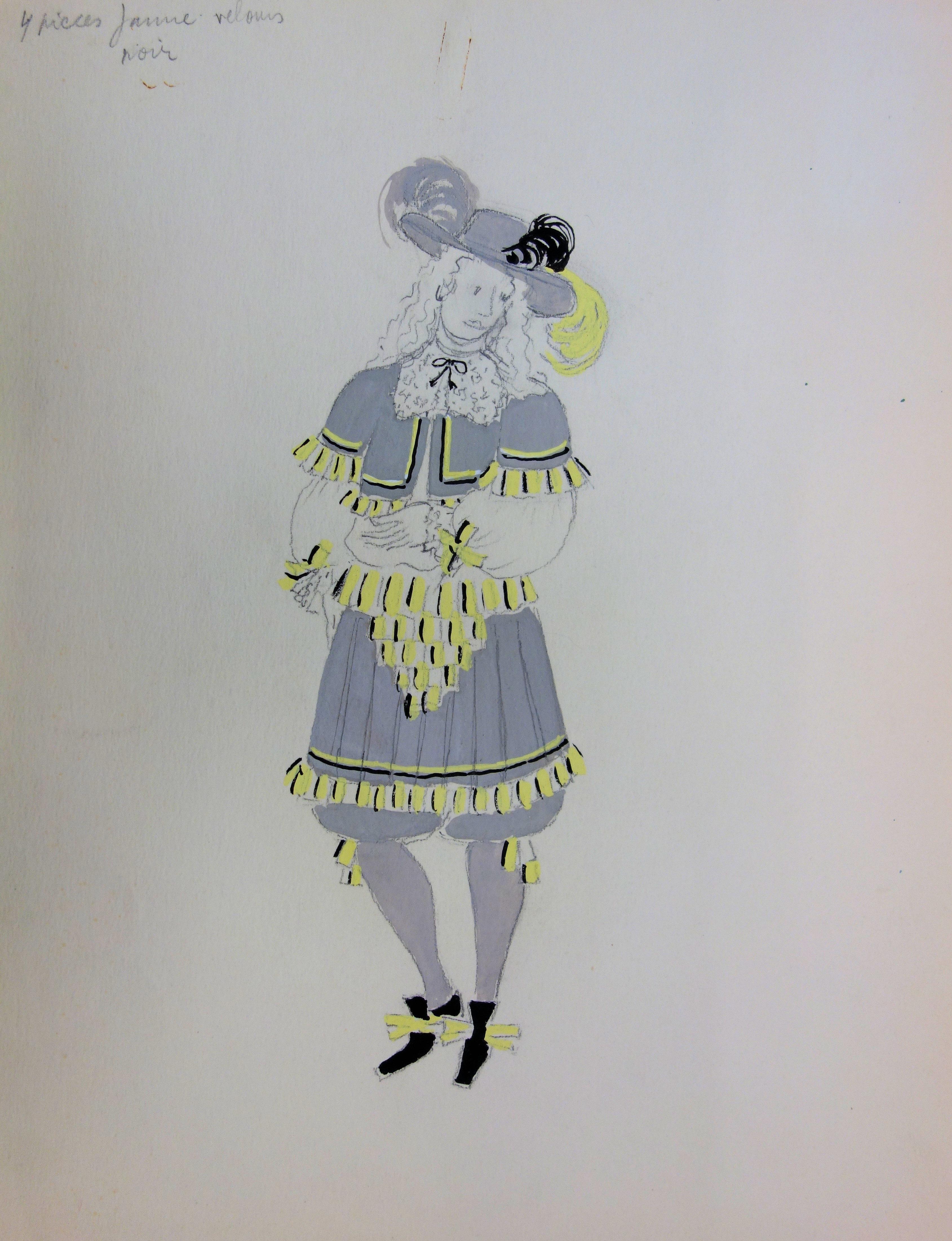 Musketeer Costume - Original  Ink and Watercolor Drawing