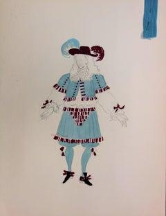Suzanne LALIQUE - Rococo Costume - Original  Drawing