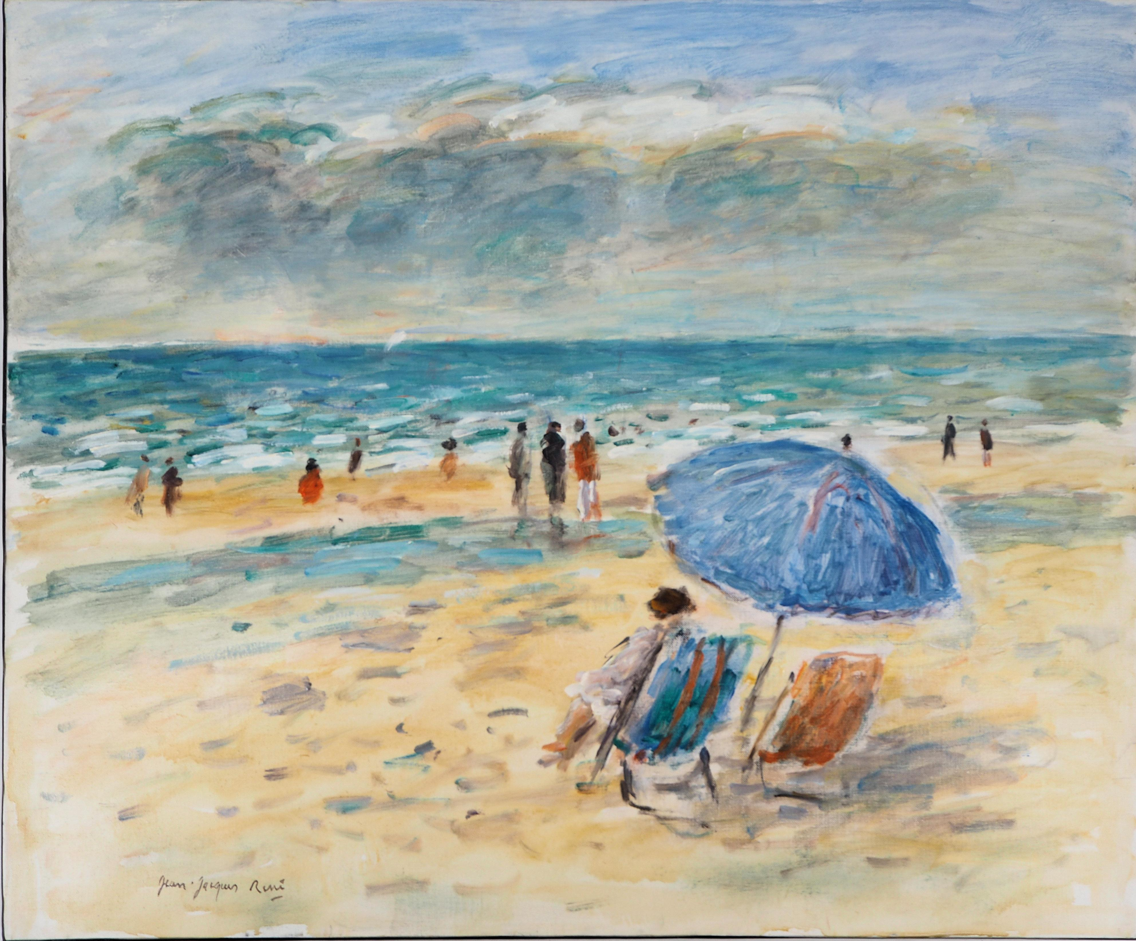 Summer in Normandy : The Beach of Blonville - Oil On Canvas, Hansigned