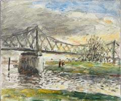 Normandy : Rouen, Sunset near the English Bridge - Oil On Canvas, Hansigned
