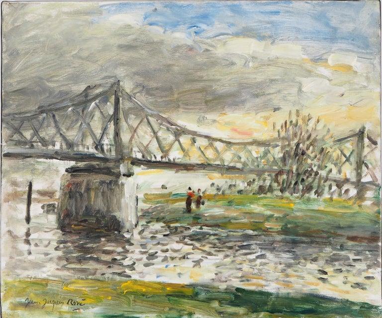 Jean Jacques Rene Landscape Painting - Normandy : Rouen, Sunset near the English Bridge - Oil On Canvas, Hansigned