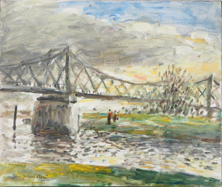 Normandy : Rouen, Sunset near the English Bridge - Oil On Canvas, Hansigned - Modern Painting by Jean Jacques Rene