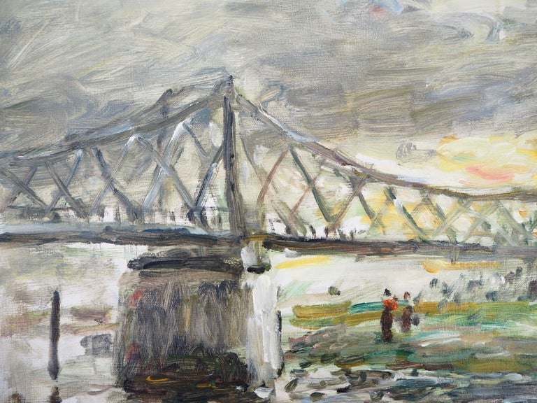 Normandy : Rouen, Sunset near the English Bridge - Oil On Canvas, Hansigned - Gray Landscape Painting by Jean Jacques Rene