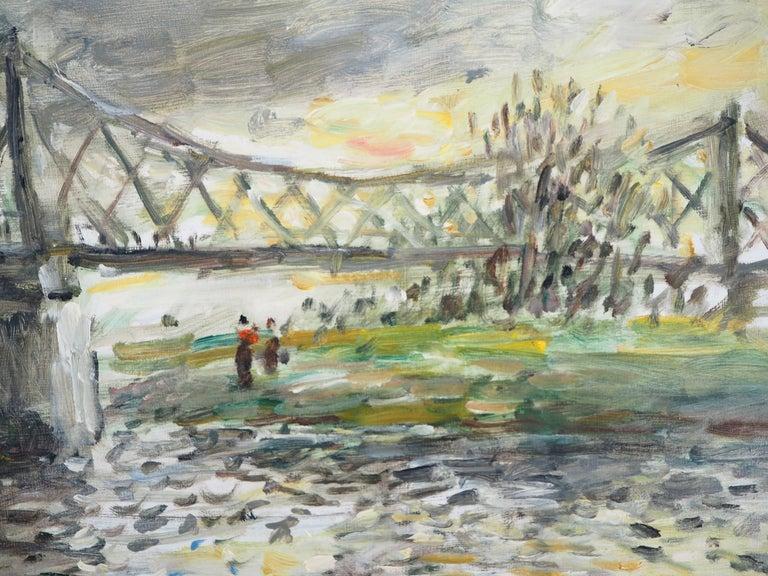 Jean-Jacques RENÉ Normandy : Rouen, Sunset near the English Bridge (Rouen, le Pont aux Anglais)  Original oil painting on canvas Handsigned 38 x 46 cm (c. 15 x 18 inch) Titled on the back  Excellent condition