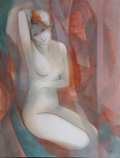 Stretching Nude - Original watercolor, Handsigned