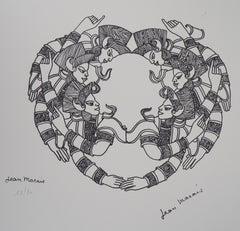 Idian Figures - Original Lithograph, Numbered /50