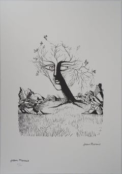Surrealist Landscape : Face in a Tree - Lithograph, Numbered /100