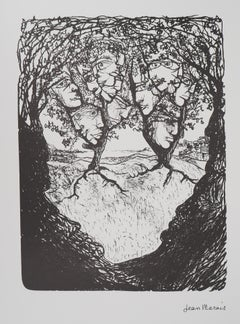 Surrealist Landscape : Faces of the Forrest - Lithograph, Numbered /100