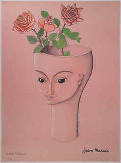 Woman with Three Roses - Lithograph - Numbered / 100