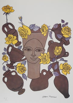 Woman, Flowers and Potteries - Lithograph - Numbered / 100