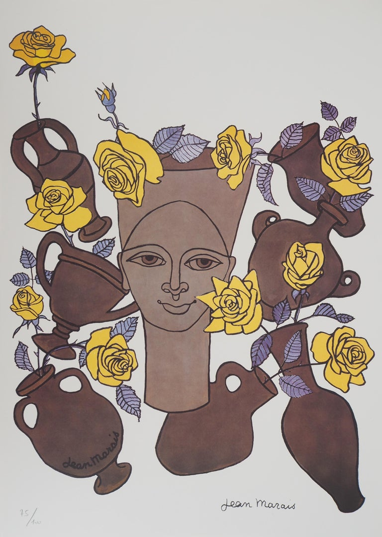Jean Marais Figurative Print - Woman, Flowers and Potteries - Lithograph - Numbered / 100