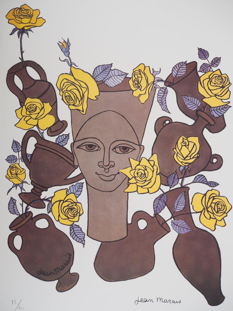 Woman, Flowers and Potteries - Lithograph - Numbered / 100 - Surrealist Print by Jean Marais