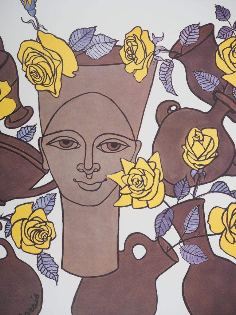 Woman, Flowers and Potteries - Lithograph - Numbered / 100 - Beige Figurative Print by Jean Marais