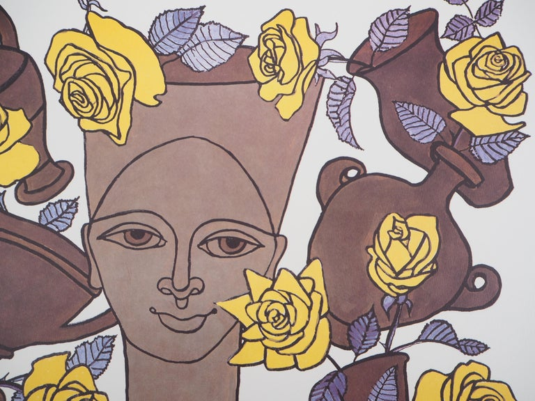 Jean Marais (1913 - 1998) Woman, Flowers and Potteries  Lithograph and offset print Signed with the stamp of the artist Bears also a printed signature in the plate Numbered / 100 On vellum 50 x 36 cm (c. 20 x 14 inch)  Excellent condition  Jean
