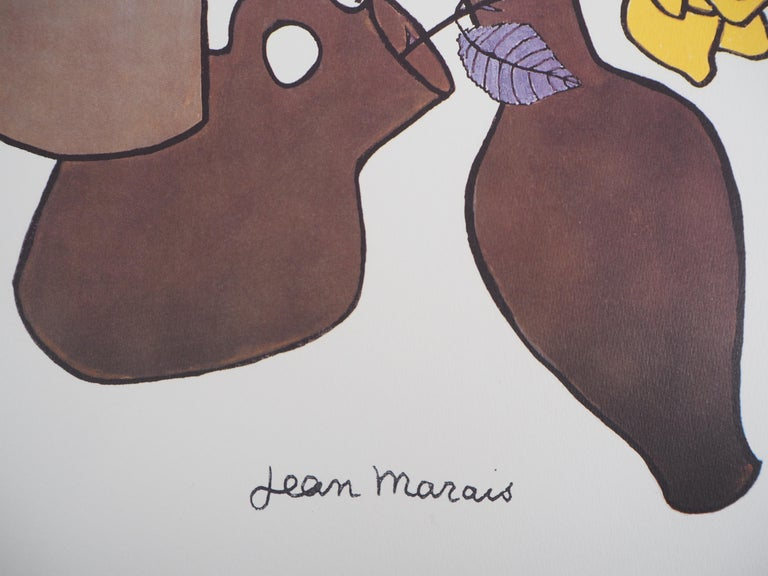 Woman, Flowers and Potteries - Lithograph - Numbered / 100 - Print by Jean Marais