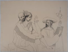 Lovers and Pilgrim - Original ink drawing, Handsigned