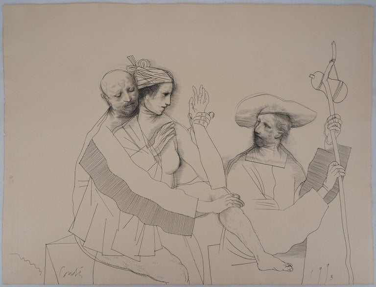 Miguel Conde Figurative Art - Lovers and Pilgrim - Original ink drawing, Handsigned
