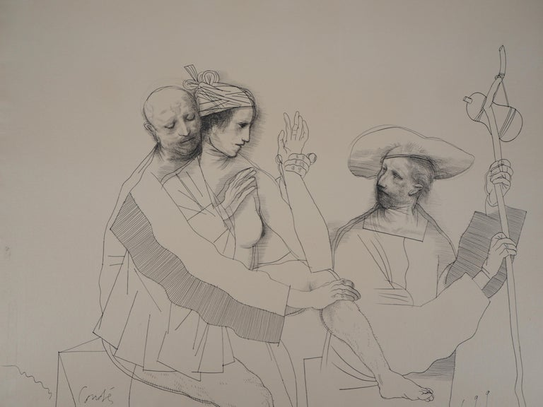 Lovers and Pilgrim - Original ink drawing, Handsigned - Modern Art by Miguel Conde