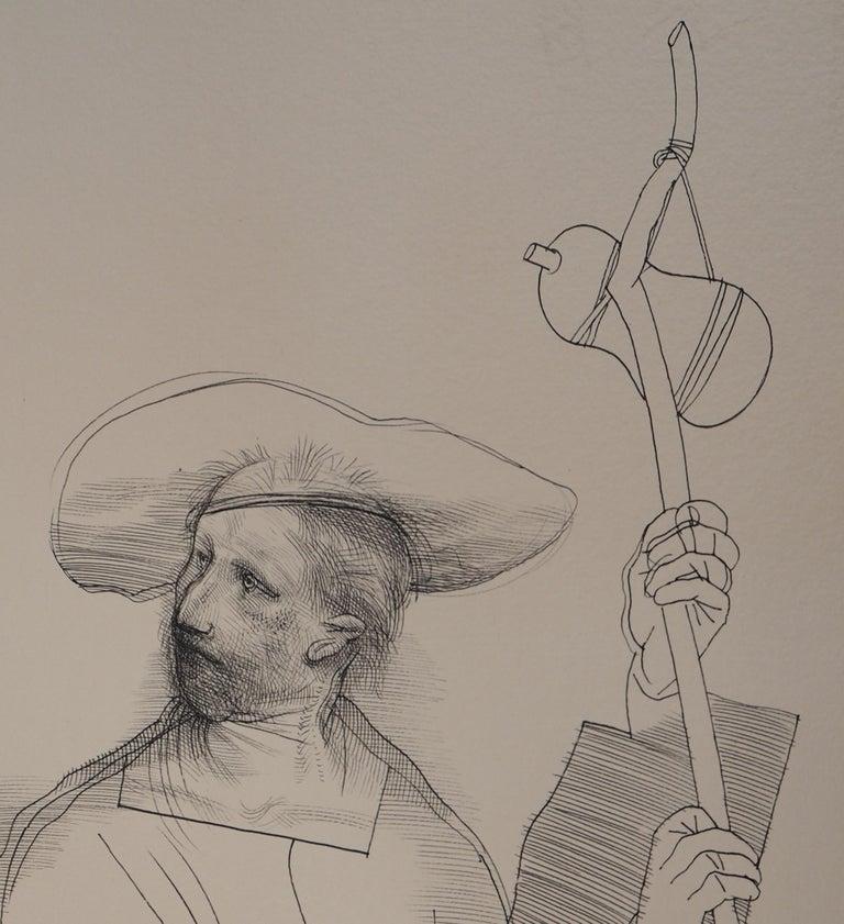 Lovers and Pilgrim - Original ink drawing, Handsigned For Sale 1