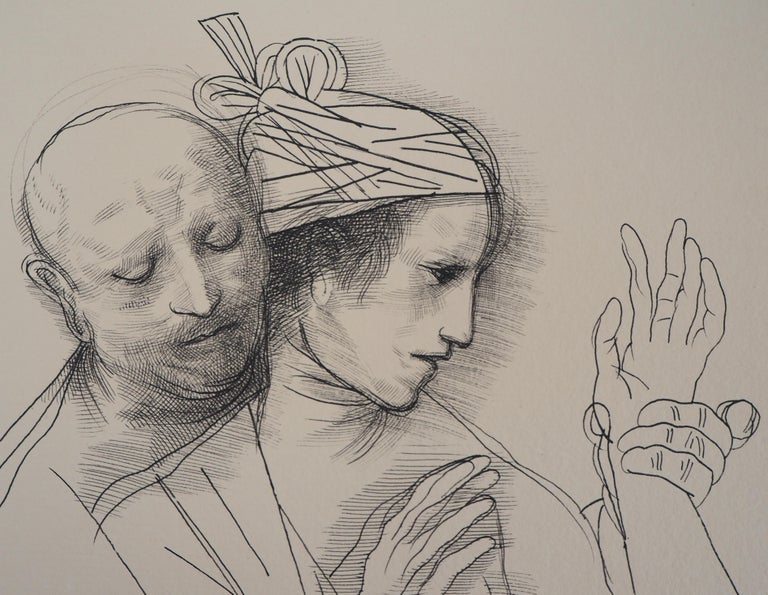 Lovers and Pilgrim - Original ink drawing, Handsigned For Sale 2