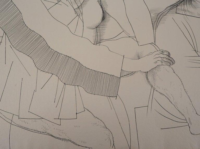 Lovers and Pilgrim - Original ink drawing, Handsigned For Sale 3
