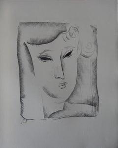 Cubist Portrait - Stone lithograph, 1930