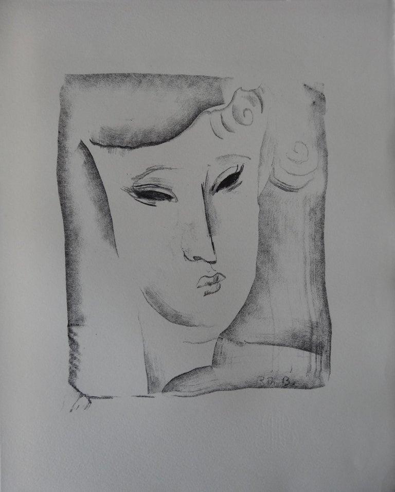 Rodolphe-Théophile Bosshard Portrait Print - Cubist Portrait - Stone lithograph, 1930
