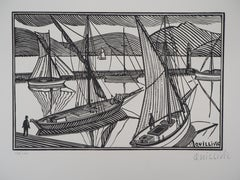 Brittany : Boats at the Harbour - Original wooodcut, Handsigned