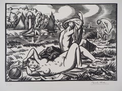 Tribute to Cezanne : The Bathers - Original wooodcut, Handsigned