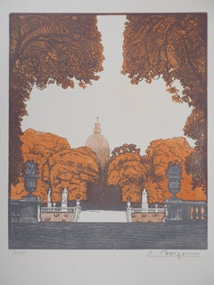 Paris, Luxembourg Garden  - Original wooodcut, Handsigned and numbered /105