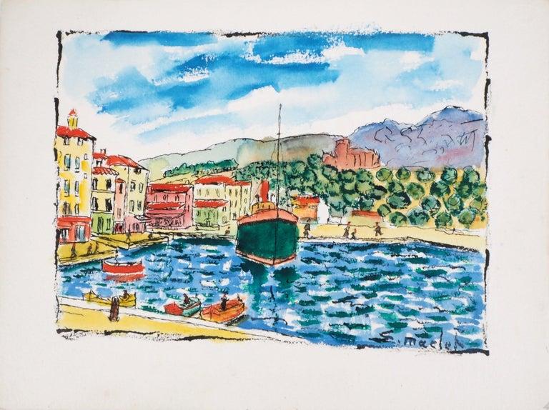Elisée Maclet Landscape Art - South of France : Harbor of Cassis (Marseille) - Original Watercolor, Handsigned