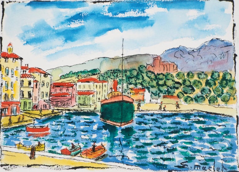 Elisée MARCLET South of France : Harbor of Cassis (Near Marseille)  Original watercolor Handsinged On vellum 28.5 x 39 cm (c. 11.2 x 15.3 inches) Also signed and titled on the back  Excellent condition