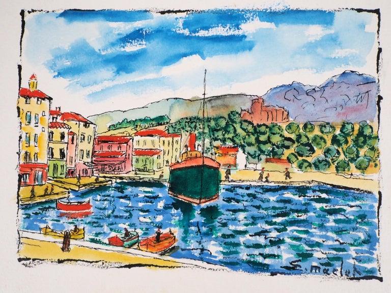 South of France : Harbor of Cassis (Marseille) - Original Watercolor, Handsigned - Modern Art by Elisée Maclet