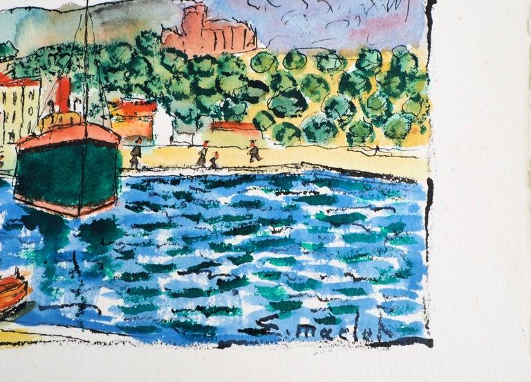 South of France : Harbor of Cassis (Marseille) - Original Watercolor, Handsigned - Art by Elisée Maclet