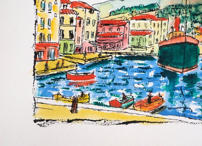 South of France : Harbor of Cassis (Marseille) - Original Watercolor, Handsigned For Sale 1