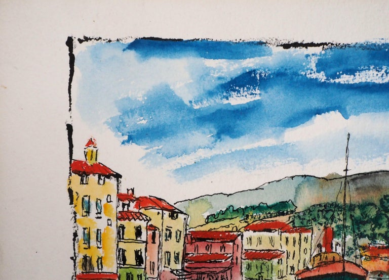 South of France : Harbor of Cassis (Marseille) - Original Watercolor, Handsigned For Sale 2