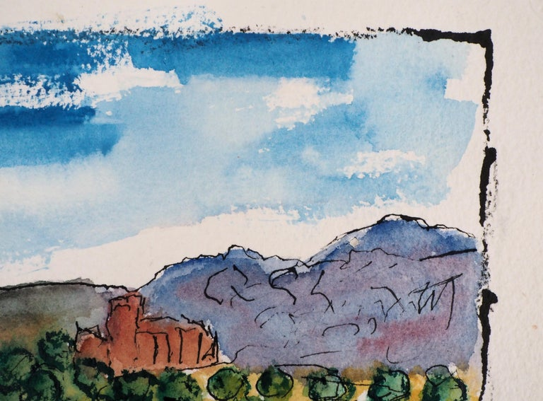 South of France : Harbor of Cassis (Marseille) - Original Watercolor, Handsigned For Sale 3
