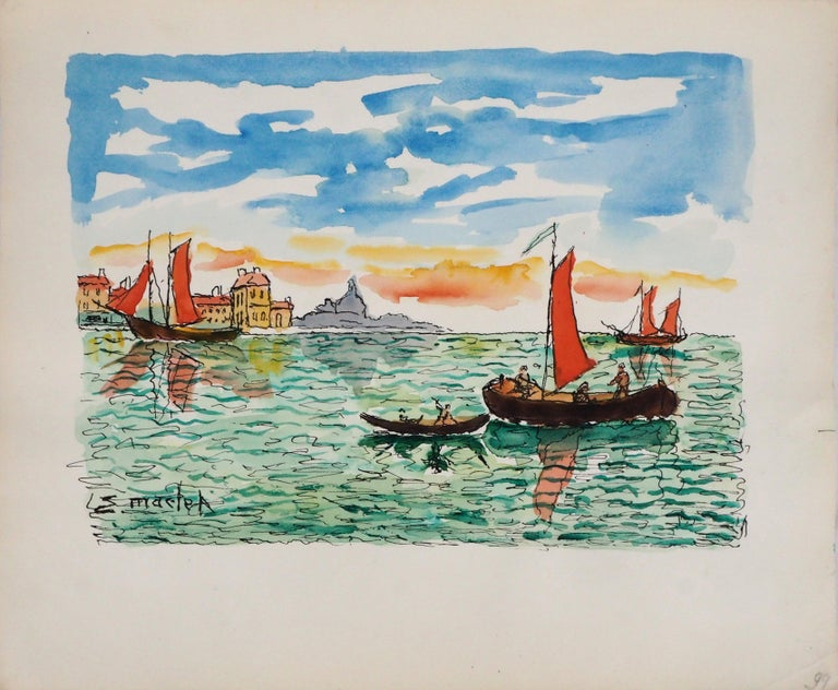Venice (San Giorgia) - Original Watercolor, Handsigned - Modern Art by Elisée Maclet