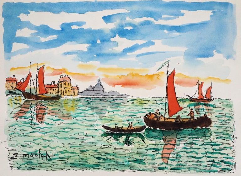 Elisée Maclet Landscape Art - Venice (San Giorgia) - Original Watercolor, Handsigned